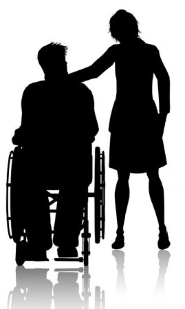 Silhouette illustration of a man in wheelchair and a woman standing proving support